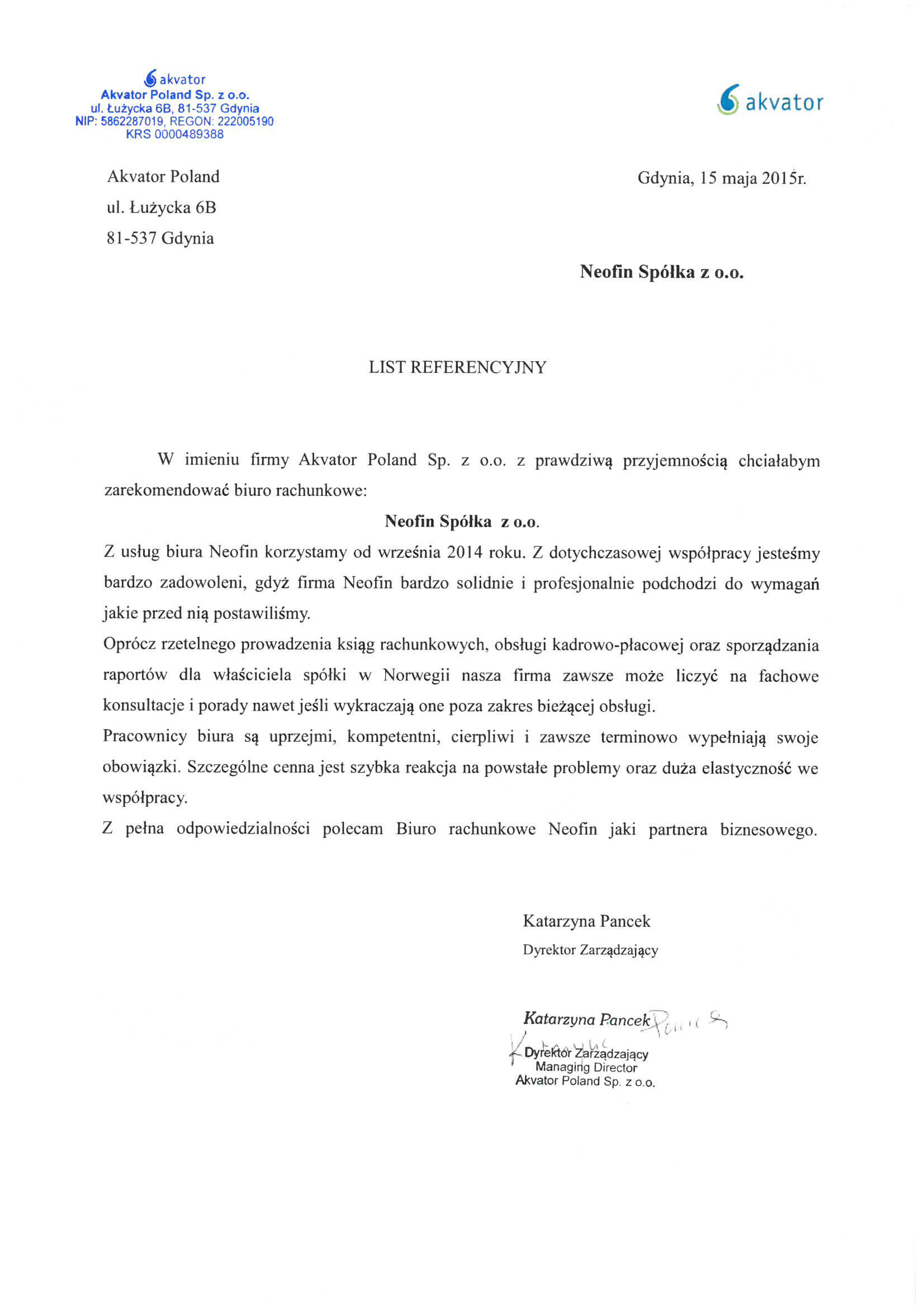 Referencje dla Neofin od Akvator Poland Sp. z o. o.