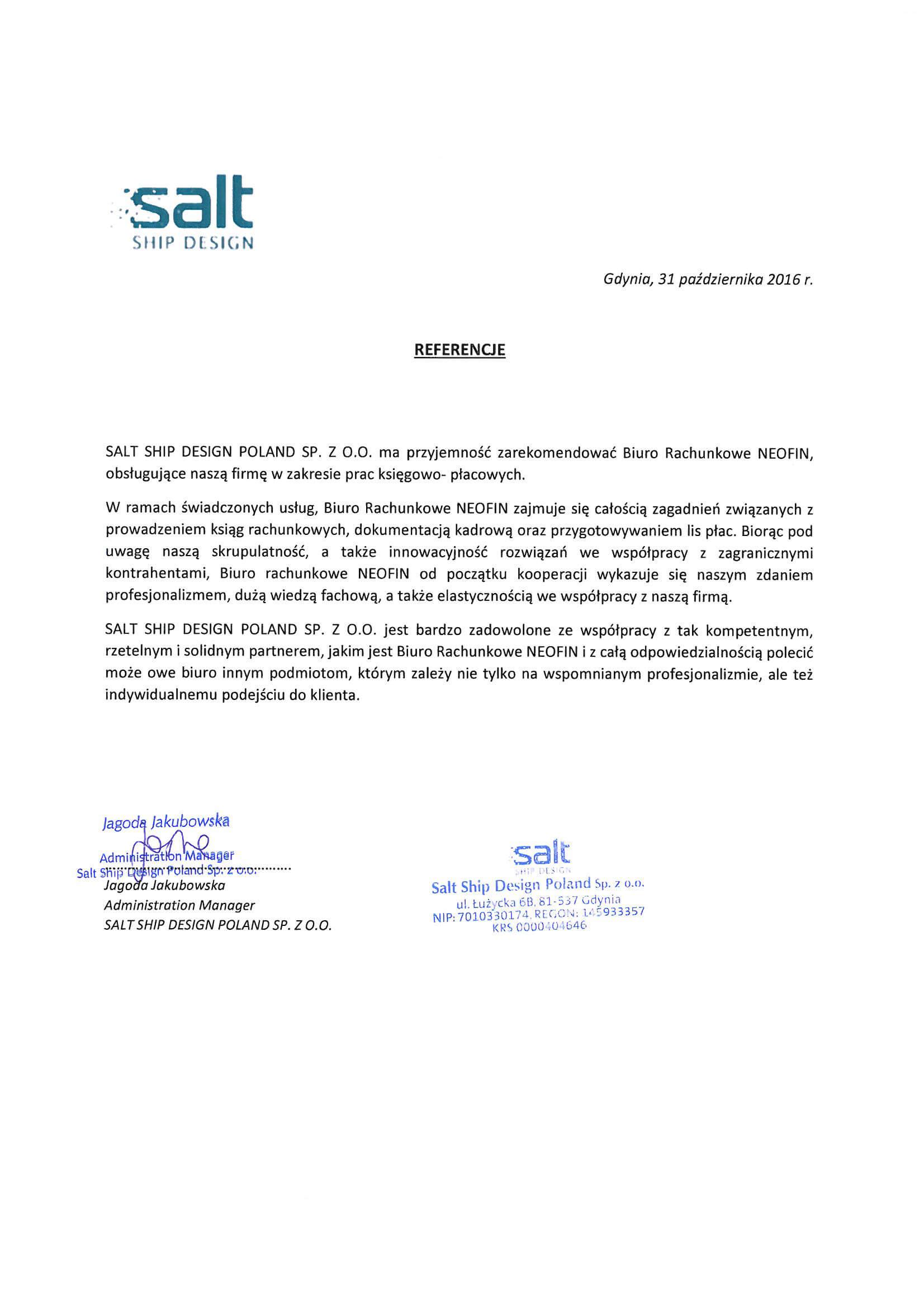 Referencje dla Neofin od Salt Ship Design Poland Sp. z o. o.