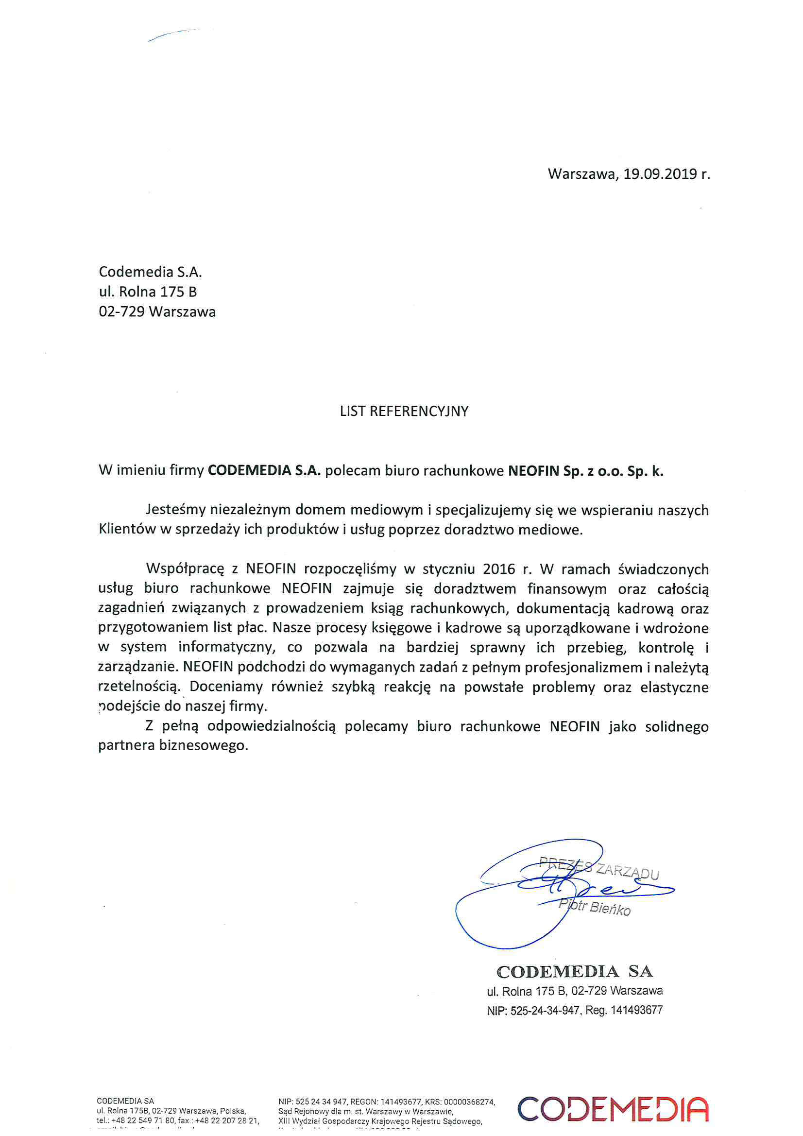 Referencje dla Neofin od Codemedia SA