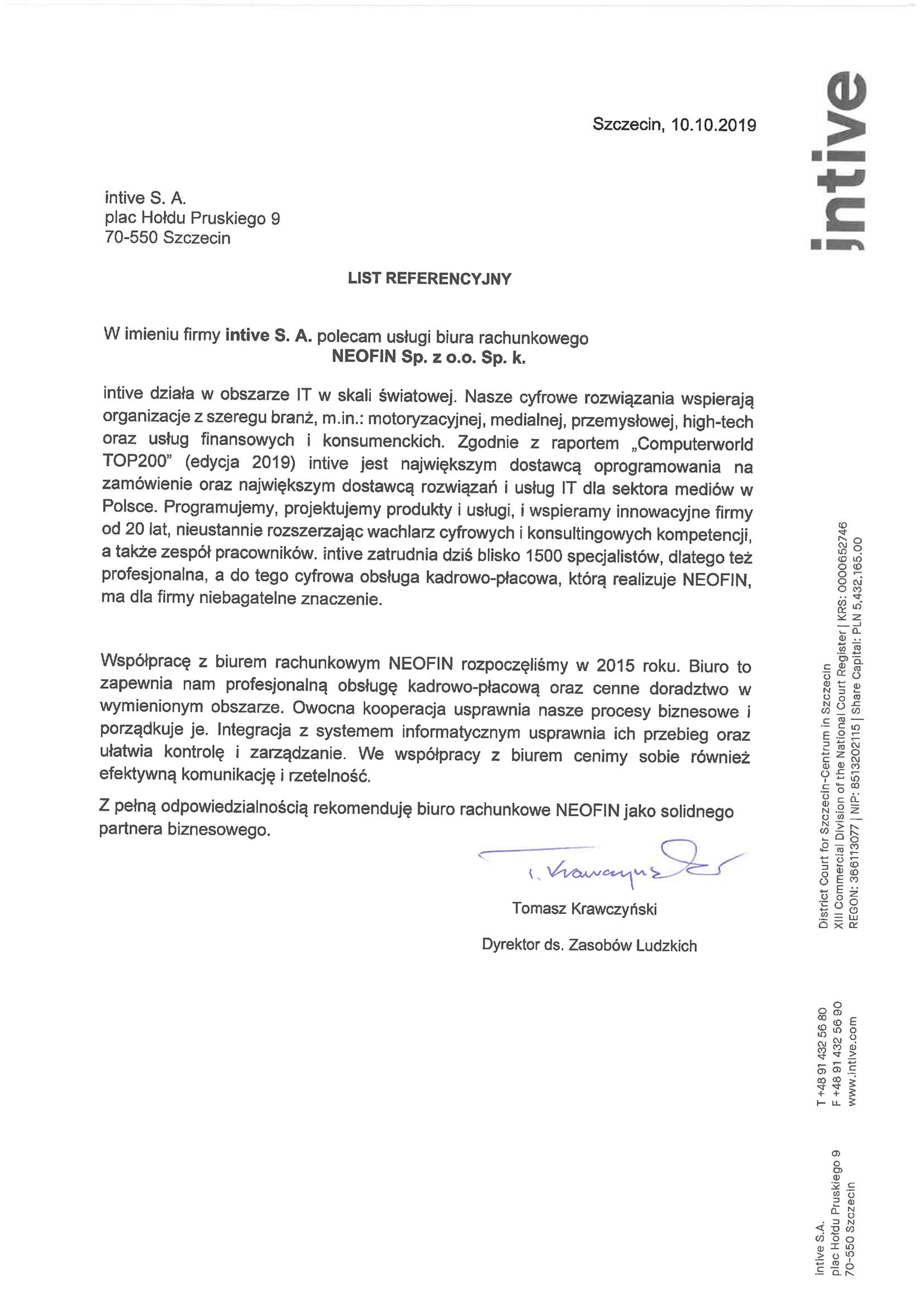 Referencje dla Neofin od Intive S.A.