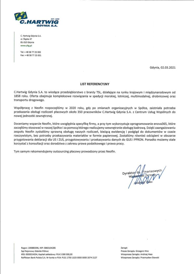 Referencje dla Neofin od C.Hartwig Gdynia S.A.